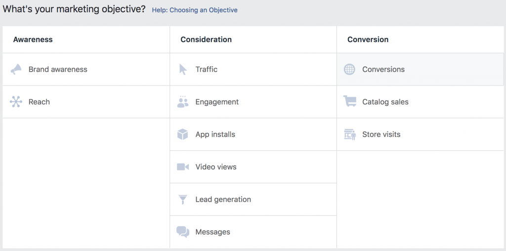 Facebook Ads marketing objective