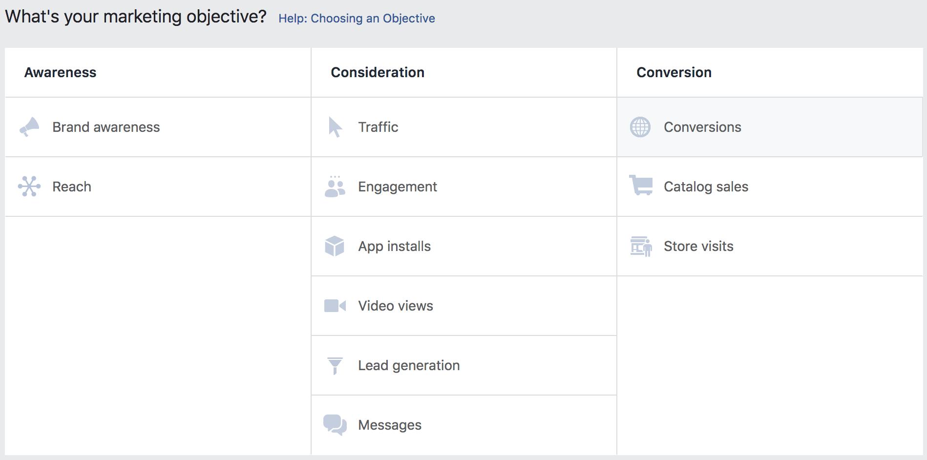 Facebook Ads marketing objective