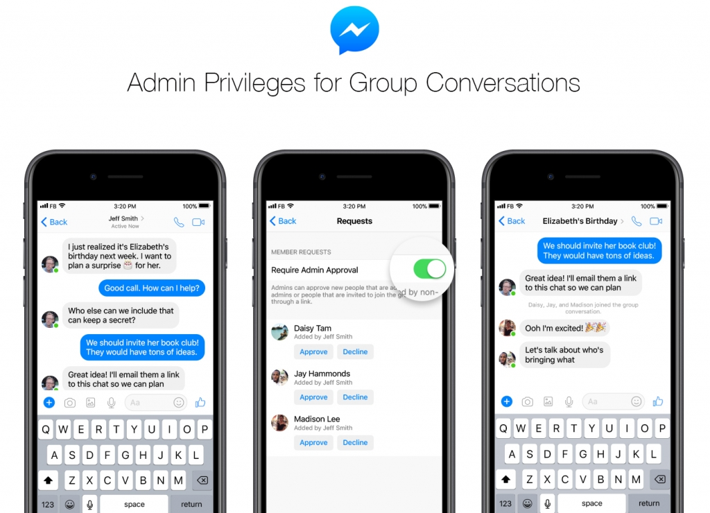 Facebook messenger admin new feature