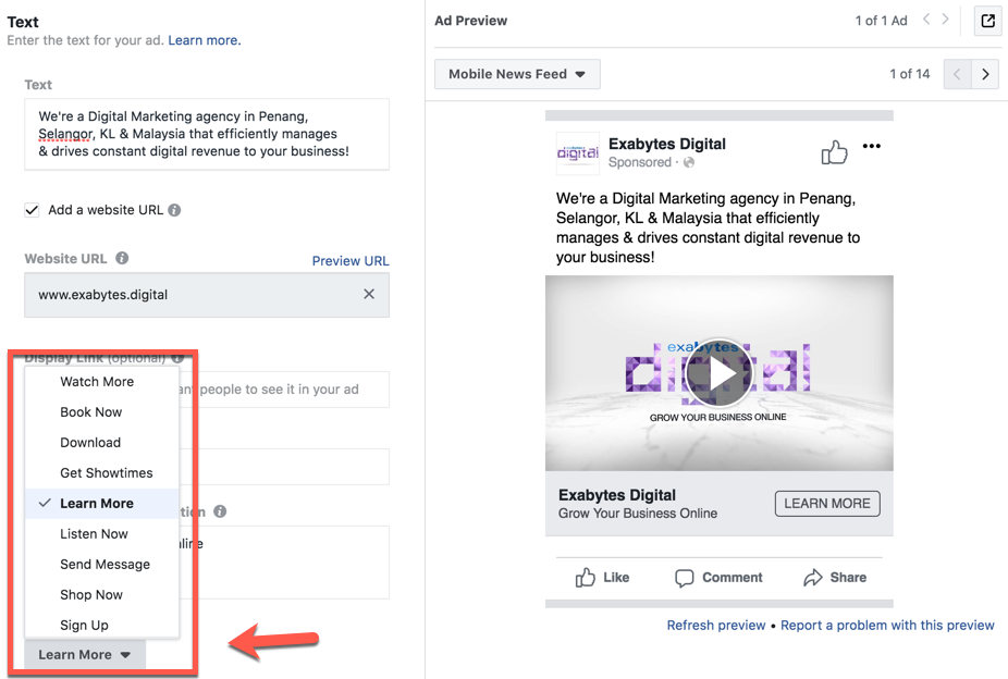 call to action in Facebook video ads