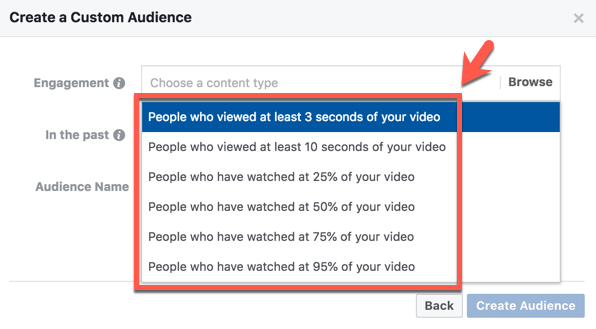 create a custom audience using video views
