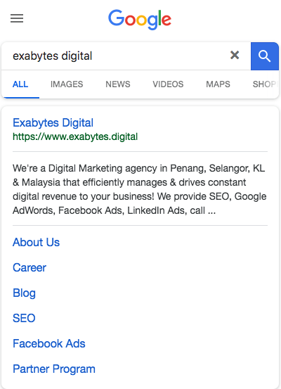 Exabytes Digital mobile search view