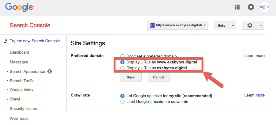 choose the preferred domain in Google Search Console