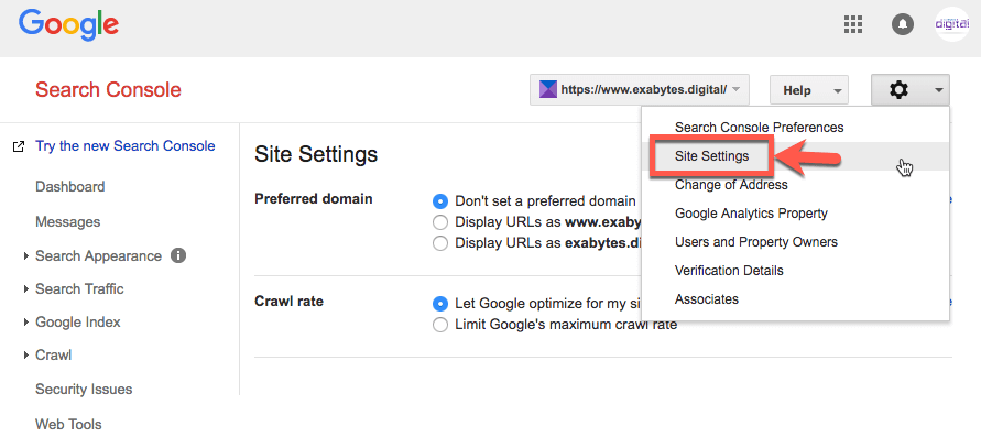 click site setting Google Search Console