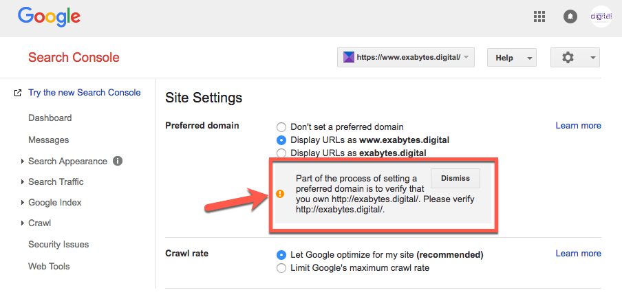 need to create new property to verify preferred domain name in Google Search Console