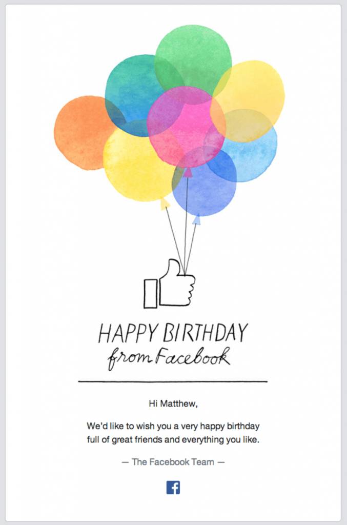 Facebook birthday email