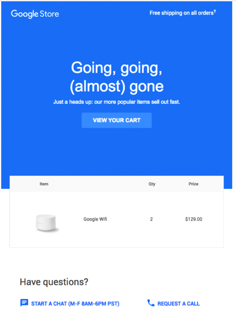 Google Store abandon email