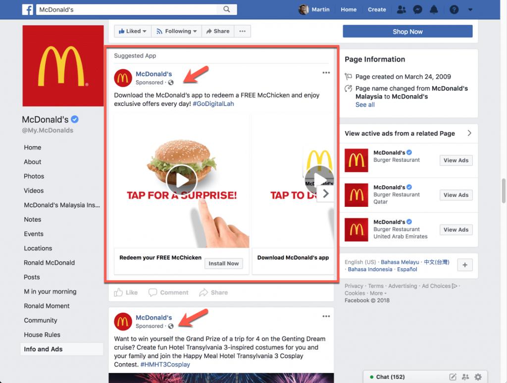 McDonald Facebook Ads examples