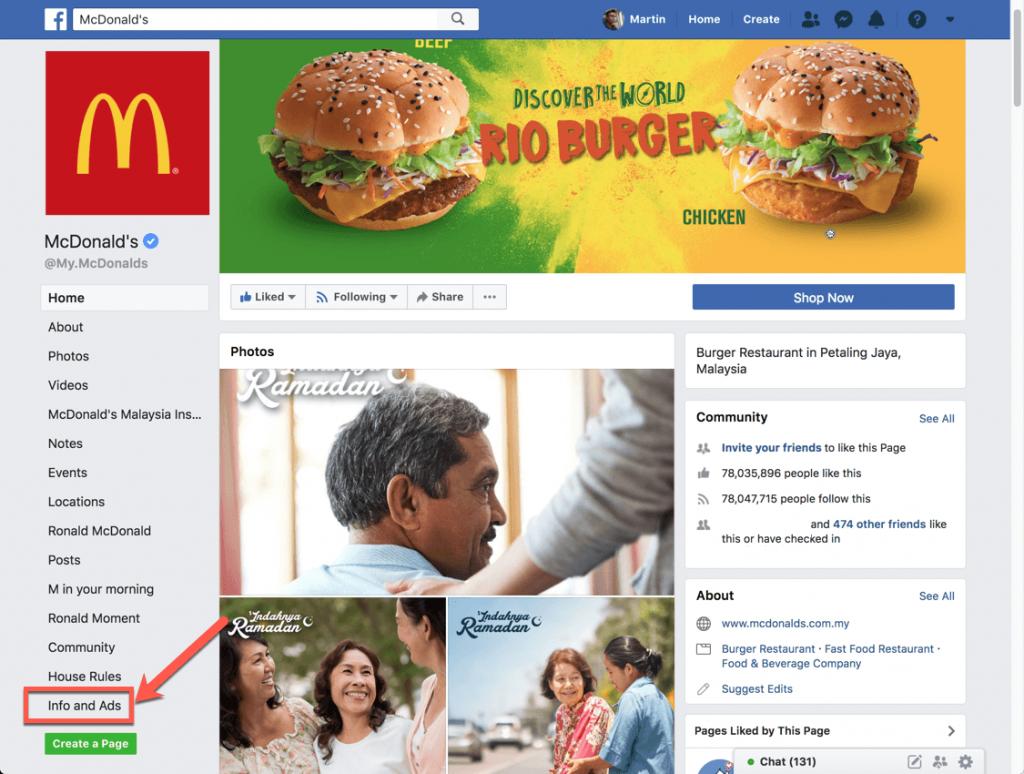 McDonald facebook page