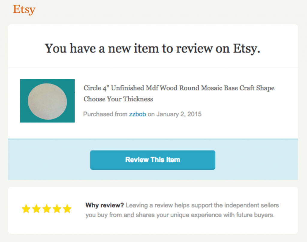 etsy review email