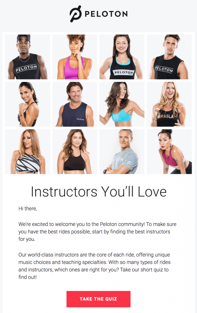 welcome email - peloton