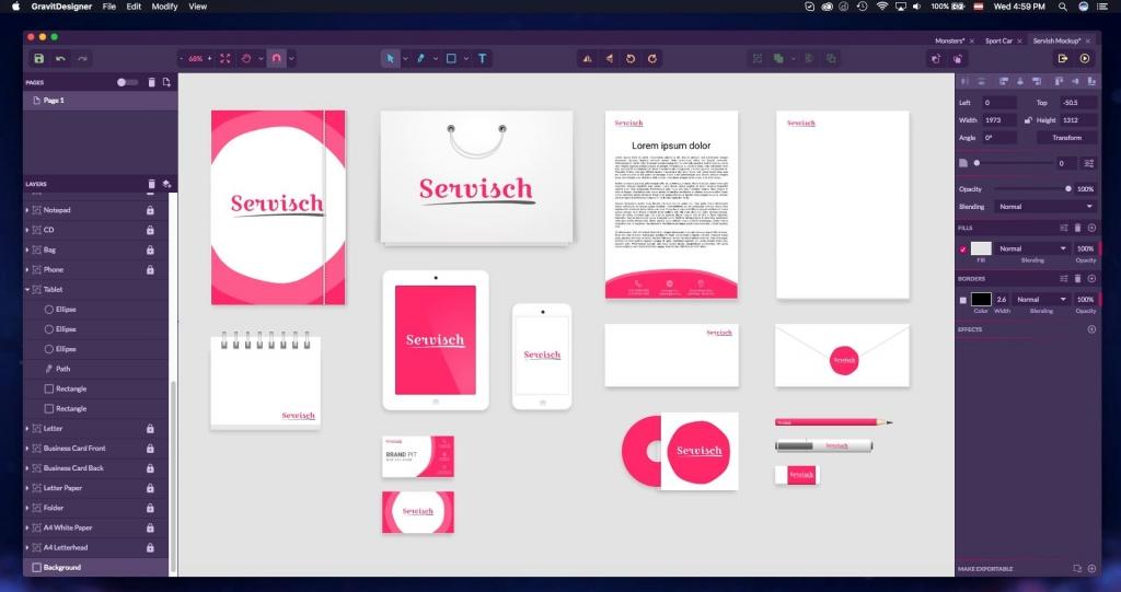 Gravit Designer dashboard