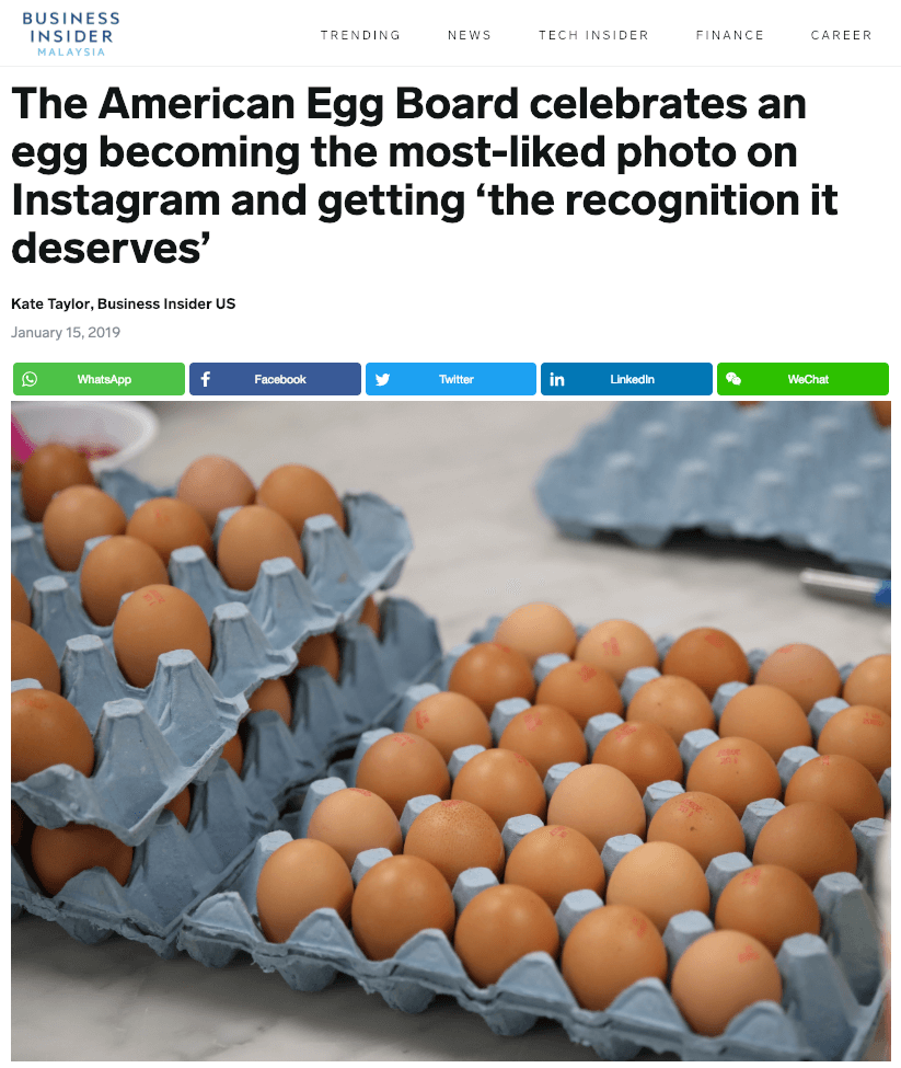 American Egg Board celebrate the egg become the most liked post