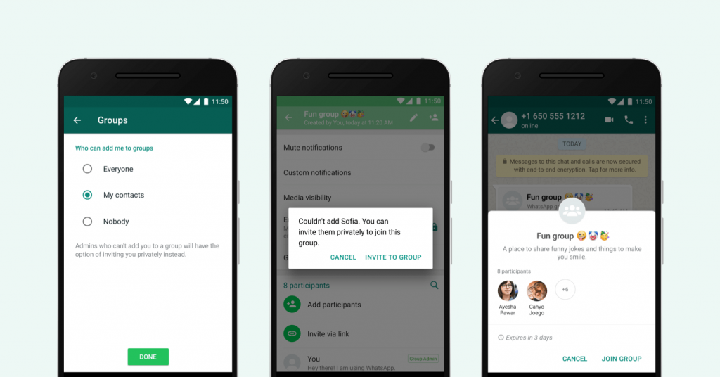 new privacy setting for WhatsApp groups