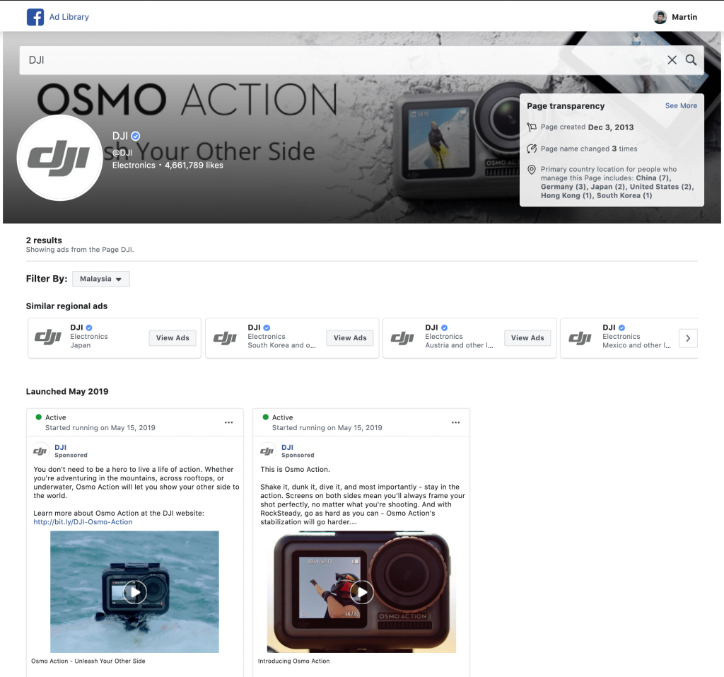 DJI Facebook ad library