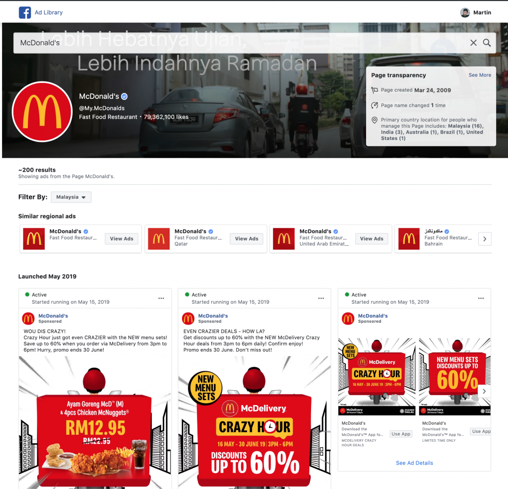McDonald's Facebook ad library