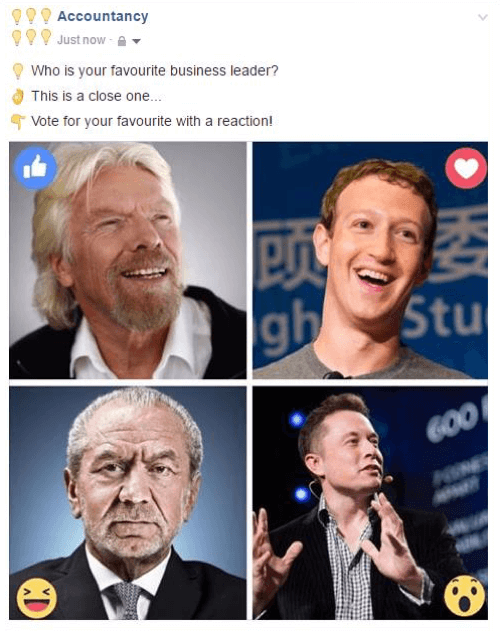 Facebook reactions example