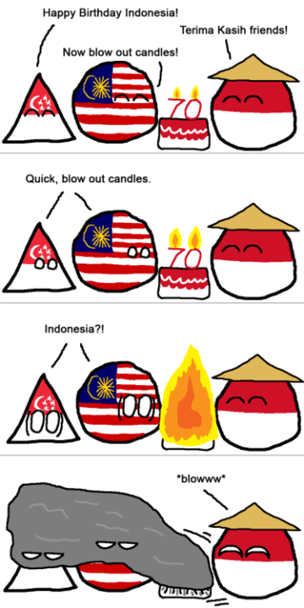 Haze comic with Malaysia, Singapore and Indonesia