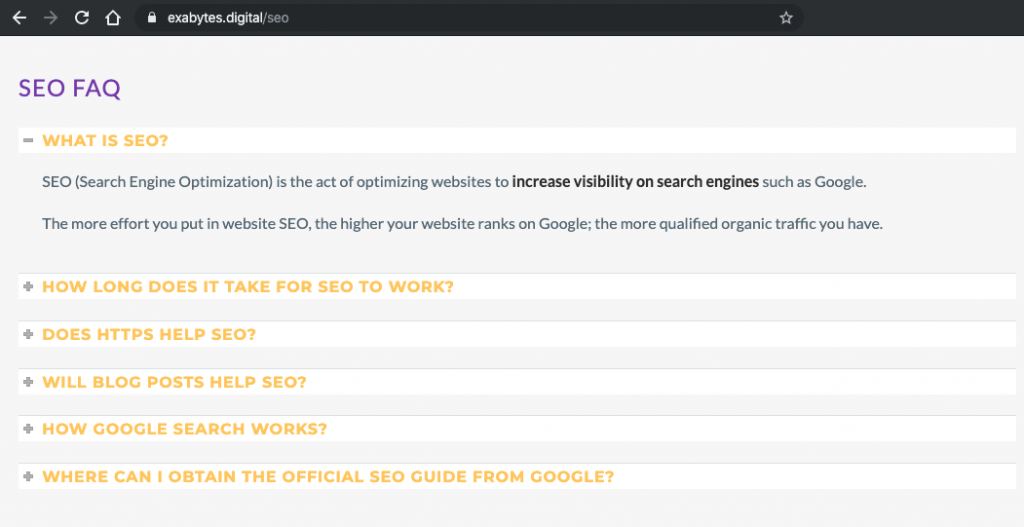 SEO FAQ section in website