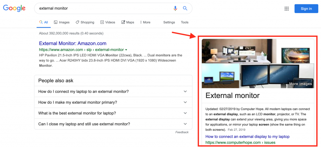 featured snippet in Google search result