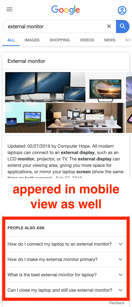 people also ask appear in mobile view
