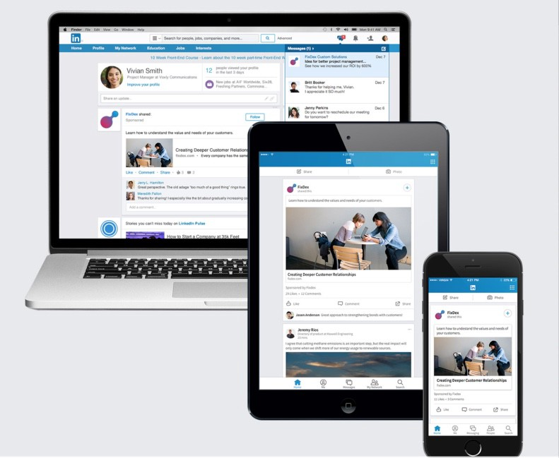 linkedin ads on various devices