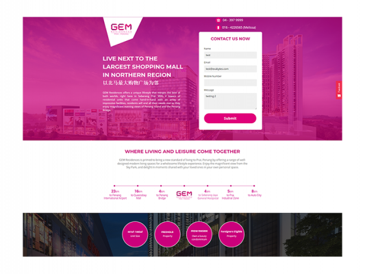 Web Design - GEM Residences